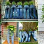 Riciclare Jeans per Fioriere