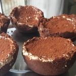 Cestini di biscotti con crema al caffè